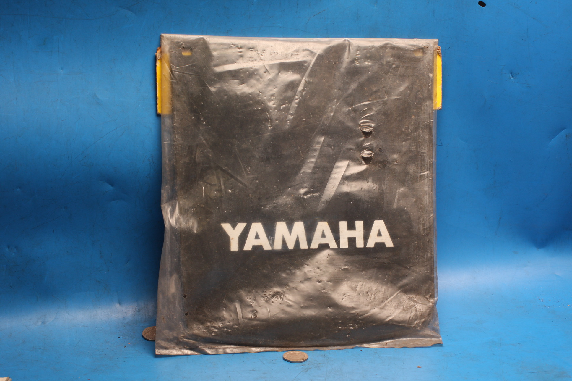 Yamaha mudflap large old stock with logo 235 x 260mm