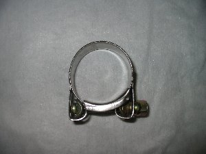 Exhaust clamp 40-43mm stainless with mild steel bolt