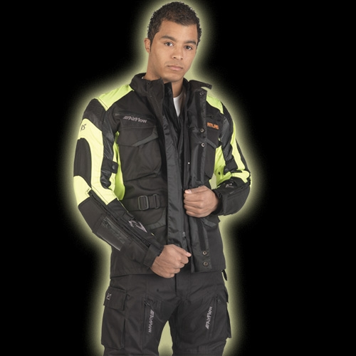 Atlas blaze heated motorcycle jacket black/yellow Large