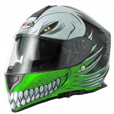 Full face helmet Vcan V127 Hollow Green extra large new