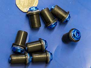 Motorcycle screen screw set in blue
