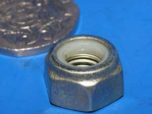 M8 by 1.25 nyloc nut mild steel plated