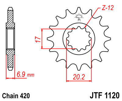 front sprocket JTF1120 x 12 universal