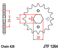 Front sprocket JTF1264 x 17 tooth new