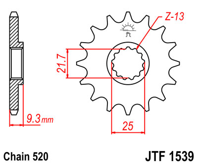 front sprocket JTF1539 15 tooth new