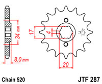 JTF287 X 13 TEETH FRONT SPROCKET NEW