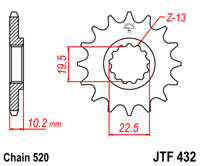 Front sprocket JTF432x14SC light weight self clean