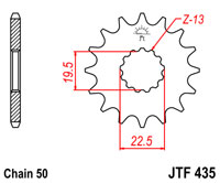 Front sprocket JTF 435 14 tooth new