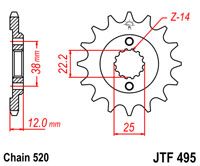 Front sprocket JTF 495 15 tooth new