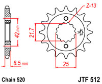 JTF512 x 16 front sprocket new