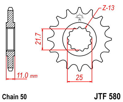 front sprocket JTF580 x 16 new