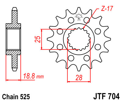 front sprocket JTF704 x 16 new