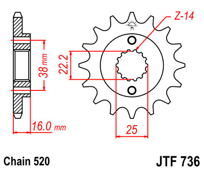front sprocket JTF736 x 14 new