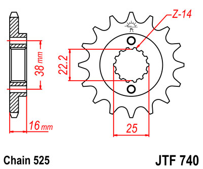front sprocket JTF740 x 14 new