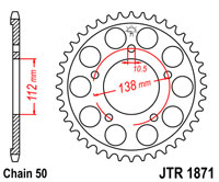 Rear sprocket JTR1871 x 48 for Yamaha YZF-R6 99-02 with 530 conv