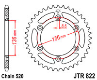 Rear drive sprocket JTR822 x 48 tooth