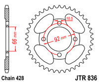 Rear sprocket 836 x 39 tooth new Yamaha RS200