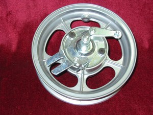 Alloy 8 inch front wheel with spindle and back plate 0994100710