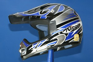 Nitro Motocross helmet MX410 Blue Black Silver Junior Small