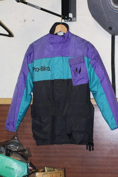 Pro-bika motorcycle jacket purple/green/black small shop soiled