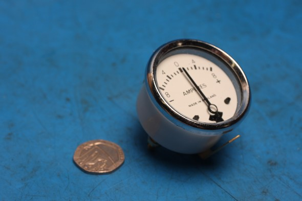 "Ammeter LUCAS style 13/4"" Diameter Chrome white 0 - 8 Amps new"
