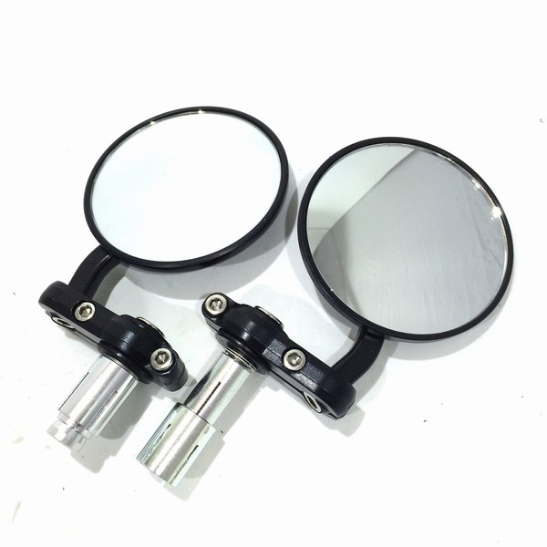 Bar end mounted mirrors round black & silver MRU020