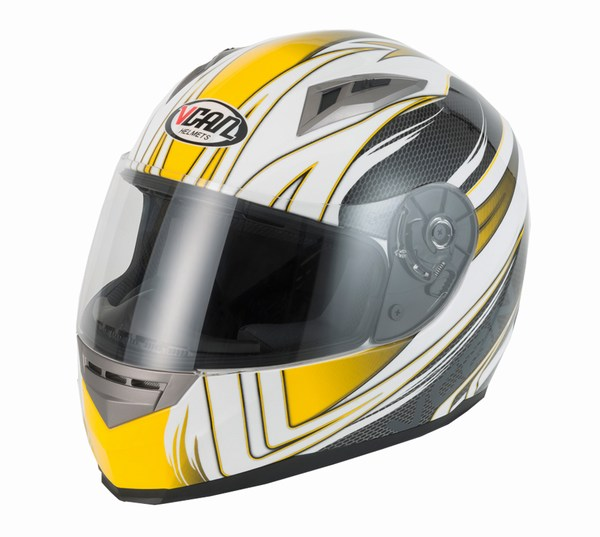 Helmet full face Vcan V158 Wind yellow / carbon extra large