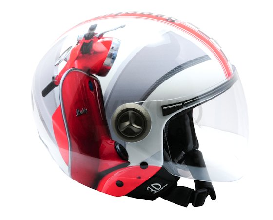 NZI HELIX IV 3D HELMET - RED RALLY - SIZE 57cm Open face